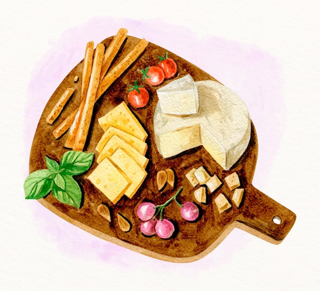 Aquarela deliciosa tábua de queijo