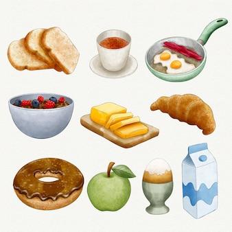 Aquarela deliciosos itens de café da manhã