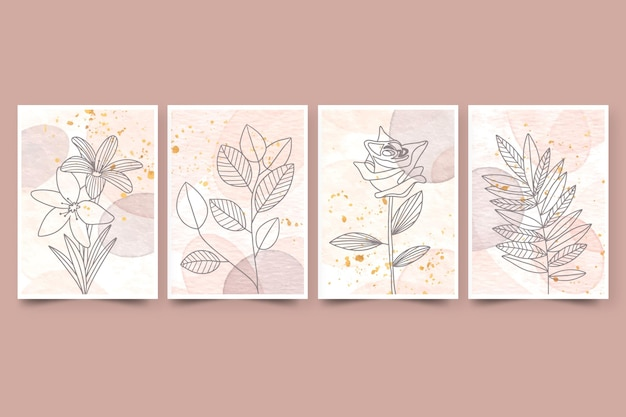 Aquarela desenhada à mão capas com plantas