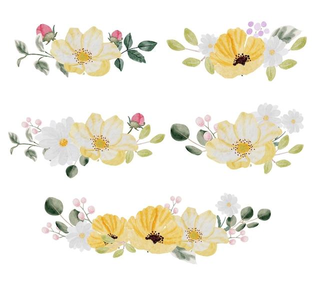 Aquarela desenhada à mão com flores coloridas da primavera e coleção de grinaldas de buquê de folhas verdes isolada no fundo branco