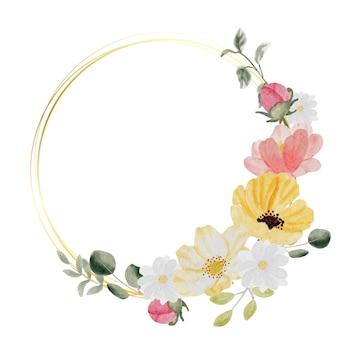 Aquarela desenhada à mão com flores coloridas da primavera e um bouquet de folhas verdes com moldura de ouro isolada no fundo branco