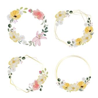 Aquarela desenhada à mão com flores coloridas da primavera e um buquê de folhas verdes com coleção de moldura dourada isolada no fundo branco