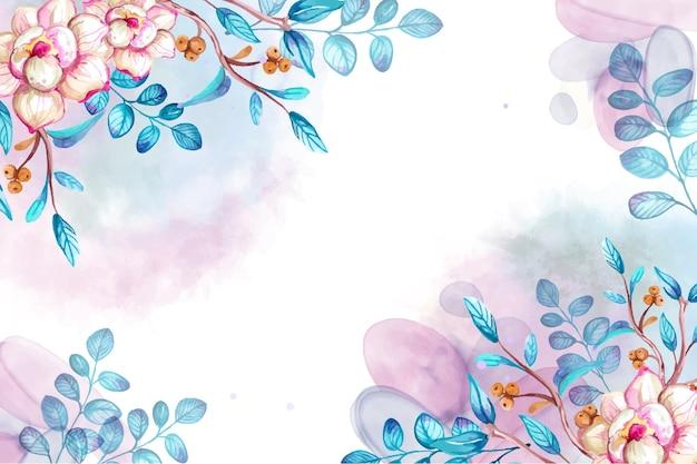 Aquarela desenhada à mão com uma flor de fundo azul e rosa