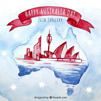 Aquarela design do dia de austrália com horizonte de sydney