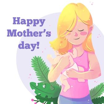 Aquarela dia das mães com mulher e bebê