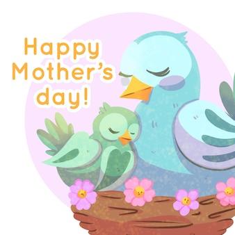 Aquarela dia das mães com pássaros
