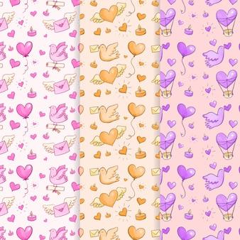 Aquarela dia dos namorados sem costura padrão de coração