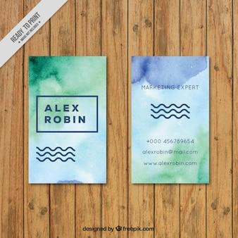 Aquarela do cartão corporativo com ondas