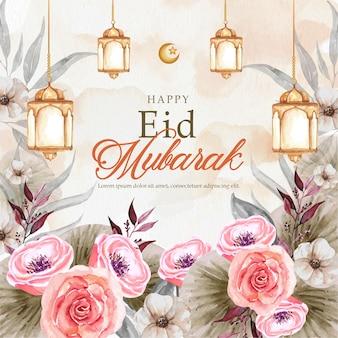 Aquarela do cartão eid mubarak com lanterna e flores
