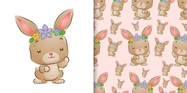 Aquarela do coelho usando a coroa de flores na cabeça.