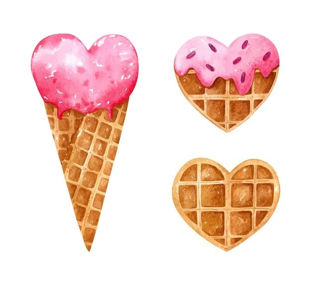 Aquarela do dia dos namorados com sobremesas em forma de coração. casquinha de sorvete de morango, waffle com esmalte rosa e granulado, waffle sem coberturas.