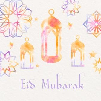 Aquarela eid mubarak com lanternas e ornamentos de estrelas