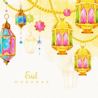 Aquarela eid mubarak com velas penduradas