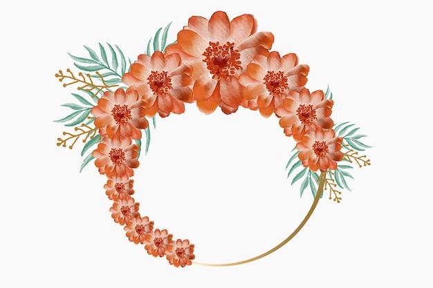 Aquarela elegante e bonita floral com moldura dourada