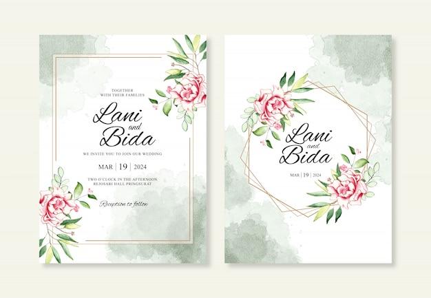 Aquarela elegante floral com modelo de convites de casamento