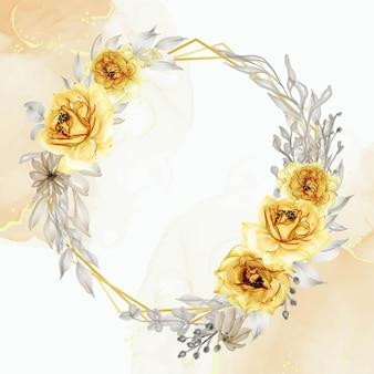 Aquarela elegante guirlanda de flor rosa amarela dourada