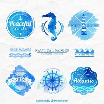 Aquarela emblemas náuticas