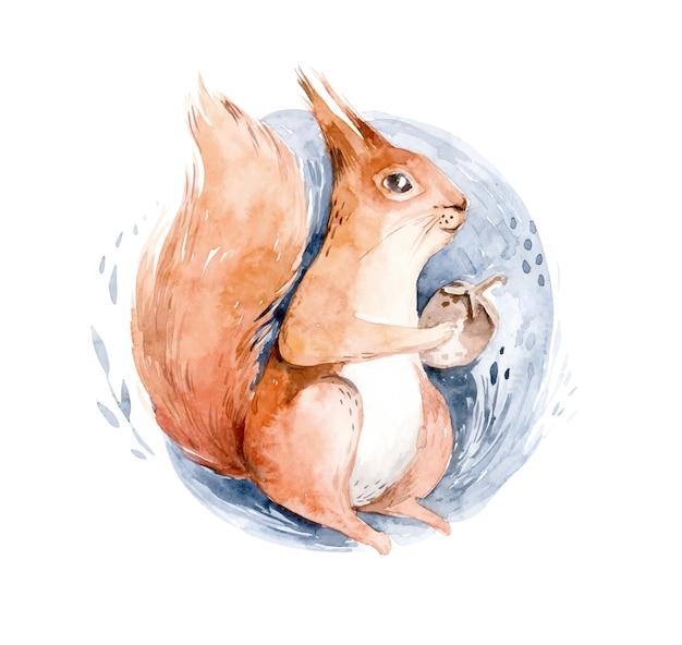 Aquarela esquilo sentado na neve - ilustração desenhada à mão de um animal