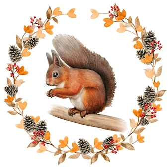 Aquarela esquilo vermelho realista em uma grinalda de outono