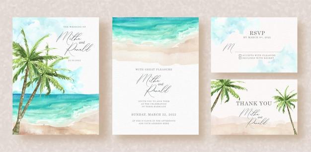 Aquarela exótica de praias e palmeiras no fundo do convite de casamento