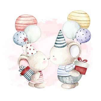 Aquarela feliz aniversário para nós