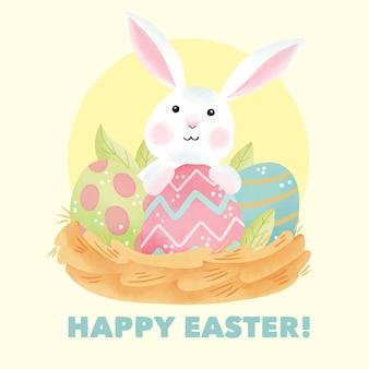 Aquarela feliz dia de páscoa com ovos e coelho fofo