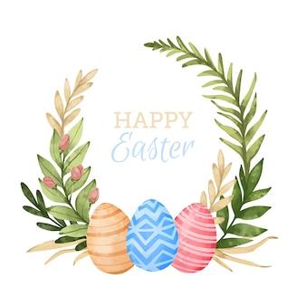 Aquarela feliz dia de páscoa deixa o quadro com ovos