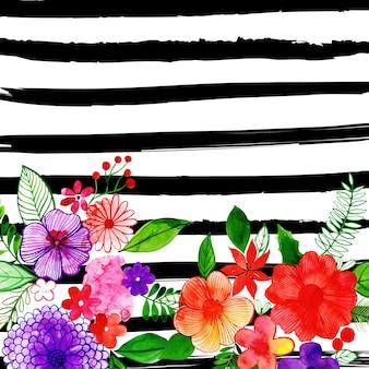 Aquarela feliz natal floral background com listras
