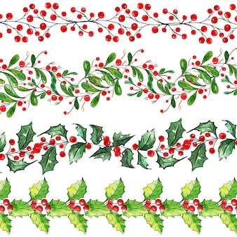 Aquarela feliz Natal fronteira coleção