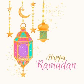 Aquarela feliz ramadan e lâmpadas