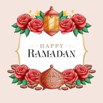 Aquarela feliz ramadan e rosas vermelhas