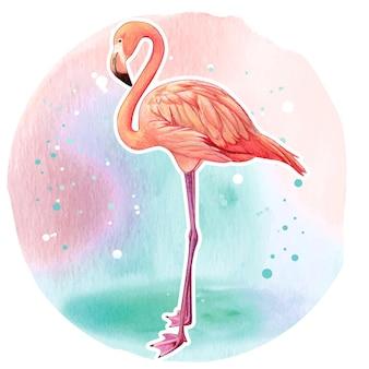 Aquarela flamingo rosa realista