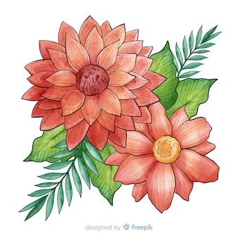 Aquarela flor coral com folhas