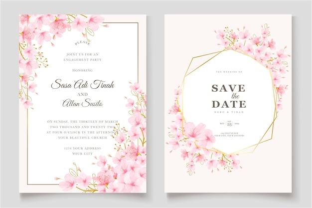 Aquarela flor de cerejeira floral e folhas conjunto de cartão
