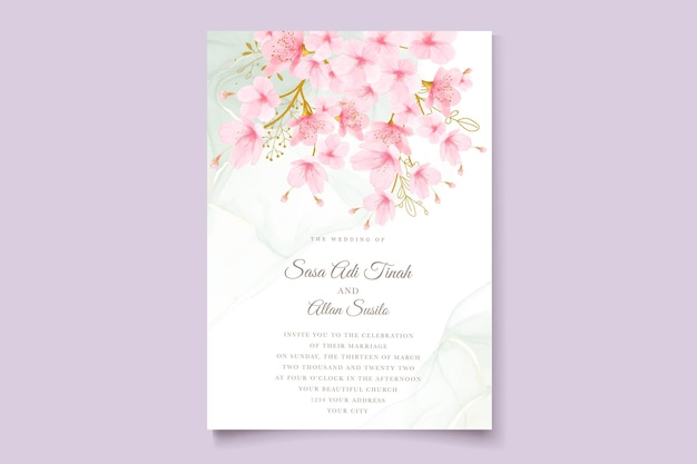 Aquarela flor de cerejeira floral e folhas conjunto de cartão Vetor Premium