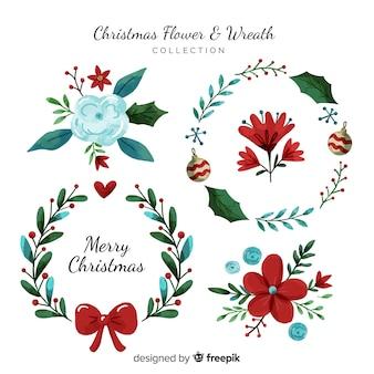 Aquarela flor de natal e coleção de grinalda