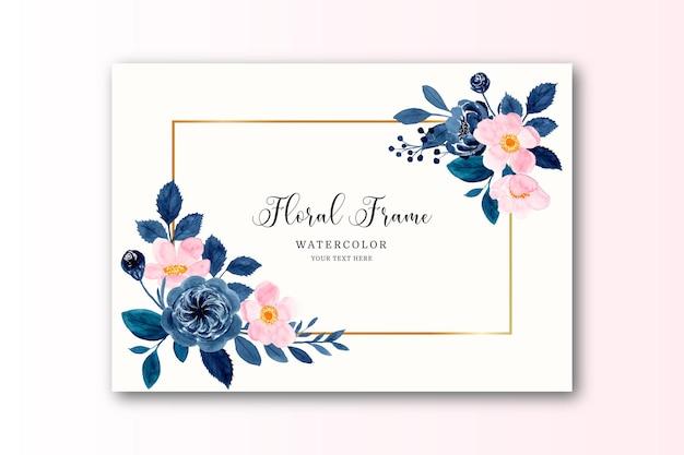 Aquarela flor rosa azul com moldura dourada