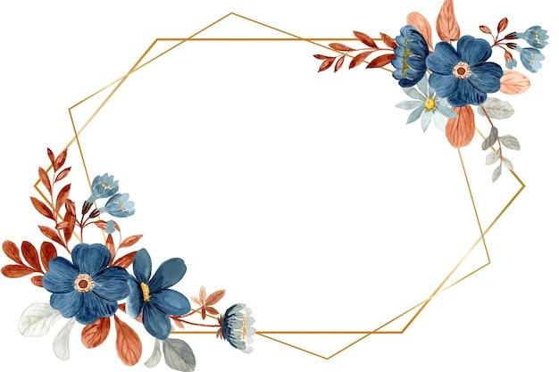 Aquarela floral azul com moldura dourada