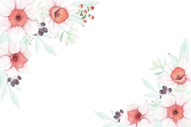 Aquarela floral com narciso e bagas