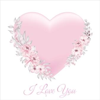 Aquarela floral corações rosa suave pastel