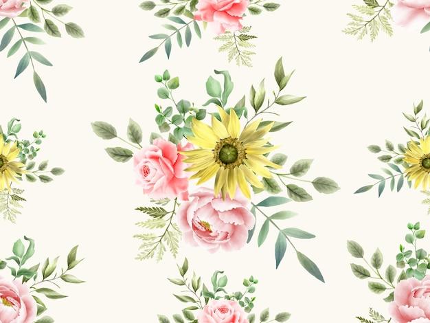 Aquarela floral de belo padrão sem emenda