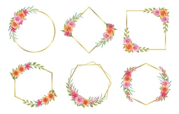 Aquarela floral de verão com moldura dourada