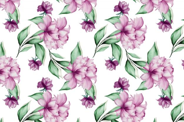 Aquarela floral deixa sem costura de fundo