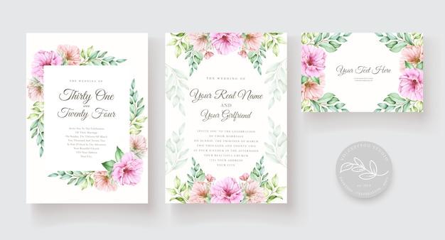 Aquarela floral e conjunto de cartão de convite de folhas