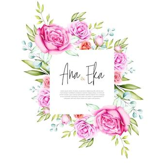 Aquarela floral e deixa design de cartão de casamento