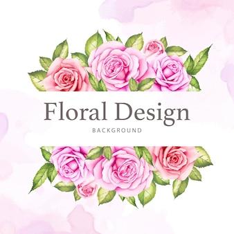 Aquarela floral e deixa o design de cartão de casamento