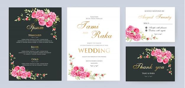 Aquarela floral e deixa o modelo de cartão de casamento