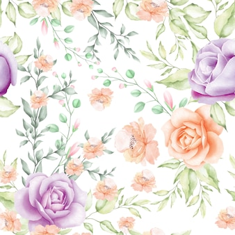 Aquarela floral e deixa o teste padrão sem emenda