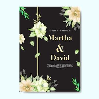 Aquarela floral e folhas cartão de convite de casamento