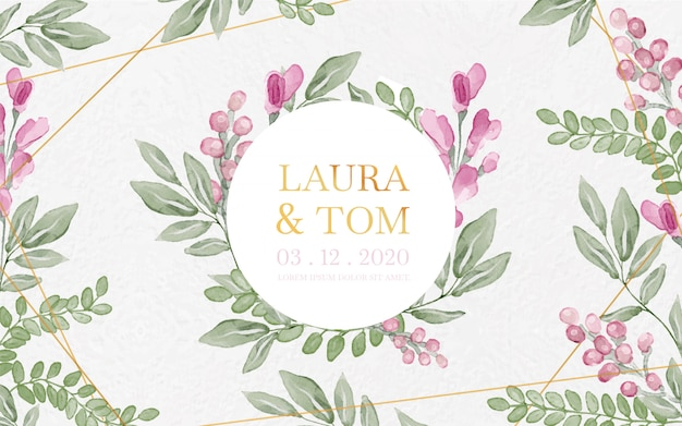 Aquarela floral e fundo de casamento de ouro